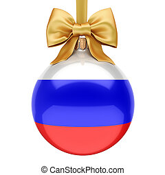 3D rendering Christmas ball with the flag of Russia