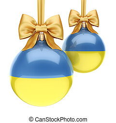 3D rendering Christmas ball with the flag of Ukraine