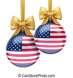 3D rendering Christmas ball with the flag of USA
