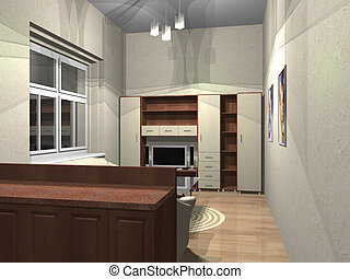 3d rendering - 3d render of small room with furniture and...