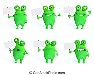 3D rendering collection of charming green monsters with blank signs.