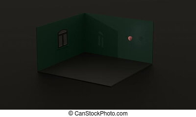 3d rendering composition with house and balloon. Minimalist dark green background with the home. Loneliness and depression concept during a pandemic.