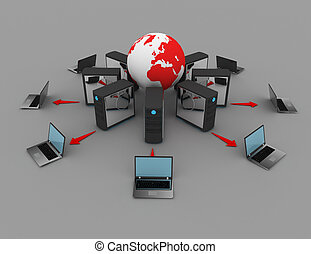 3d rendering Computer network . 3d rendered illustration