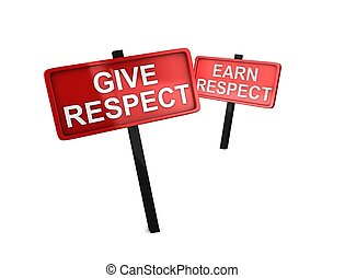 Give respect - 3d rendering, conceptual image, Give respect...