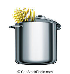 cooking steel pot with spaghetti - 3D rendering, cooking ...
