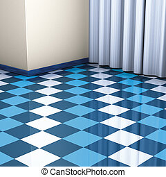 corner blue and white tiles - 3D rendering, corner blue and...
