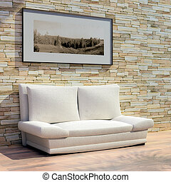 3d rendering. Cosy light sofa from a fabric near a stone...