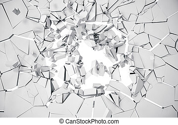 3d rendering cracked earth abstract background with volume light rays. Cracked concrete earth abstract background.