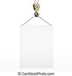 3D rendering crane hook with banner