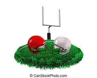 American football - 3d rendering, creative concept American...