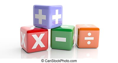 3d rendering cubes with math symbols - 3d rendering colored...