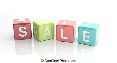 3d rendering cubes with word sale