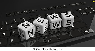 3d rendering cubes, word news on a keyboard