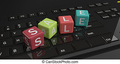 3d rendering cubes, word sale on a keyboard