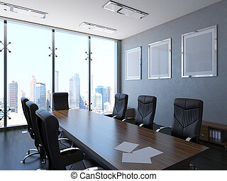 3d-rendering, de, el, interior, oficina