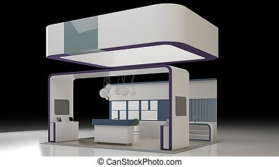 3D rendering Design of an exhibition isolated on white