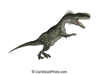 3D Rendering Dinosaur Monolophosaurus on White