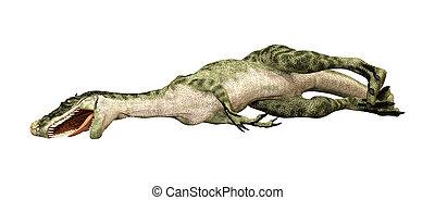 3D Rendering Dinosaur Monolophosaurus on White - 3D...