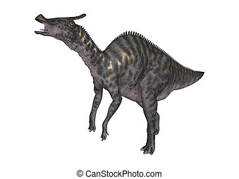 3D Rendering Dinosaur Saurolophus on White