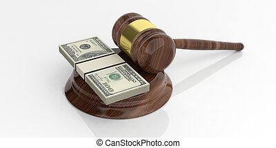 3d rendering dollar banknotes stacks and an auction gavel on white background