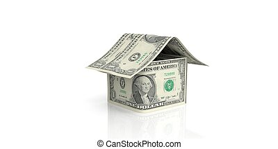 3d rendering dollar house on white background