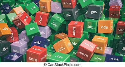 3d rendering domain names cubes background - 3d rendering...