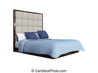 3D Rendering Double Bed on White