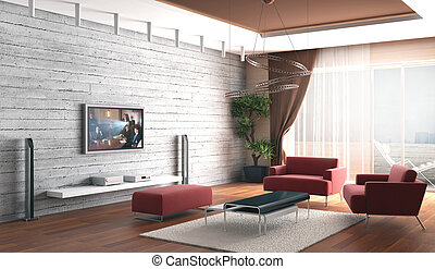 3d rendering. Drawing room a room with a stone wall and a...