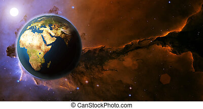 Earth planet from space on a star field and nebula