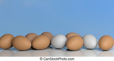 3d rendering eggs on a blue sky background