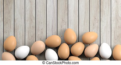 3d rendering eggs on a wooden background