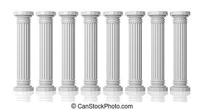 3d rendering eight white marble pillars