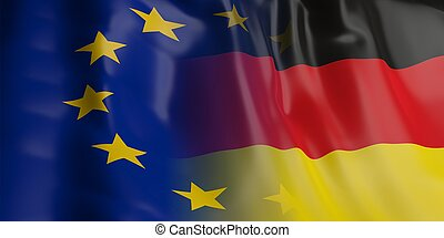 3d rendering EU and Germany flag