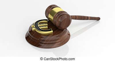 3d rendering euro symbol and an auction gavel