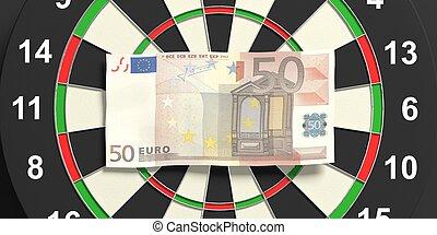 3d rendering euros on dartboard