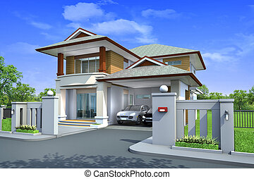 3d rendering, Exclusive two floor tropical modern house on ...