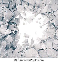3d rendering, explosion, broken concrete wall, cracked earth, bullet hole, destruction, abstract background with volume light rays.