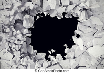 3d rendering explosion, cracked concrete wall, bullet hole, destruction, abstract 3d background