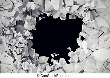3d rendering, explosion, cracked concrete wall, bullet hole, destruction, abstract background.
