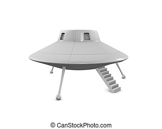 3d rendering fictional UFO landing on earth, isolated on white background.