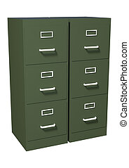 3D Rendering File Cabinet on White