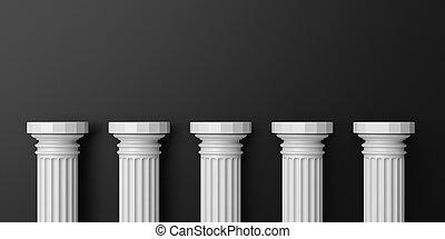 3d rendering five white marble pillars on black background