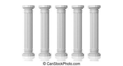 3d rendering five white marble pillars