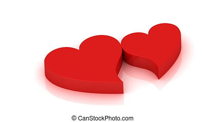 Two red hearts beating in rhythm - 3D rendering footage: Two...