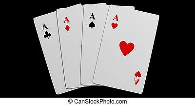 3d rendering four aces