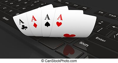 3d rendering four aces on a keyboard
