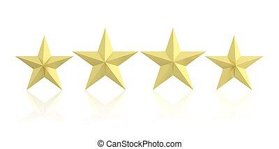 3d rendering four golden stars