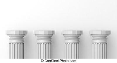 3d rendering four white marble pillars