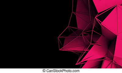3d rendering fractal object with mesh grid, abstract modern background, computer generated
