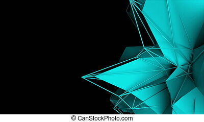 3d rendering fractal object with mesh grid, abstract modern...